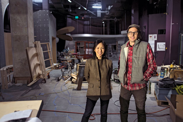 Annie Han and Daniel Mihalyo (aka Lead Pencil Studio) at work designing the new fantasy exhibit at EMP