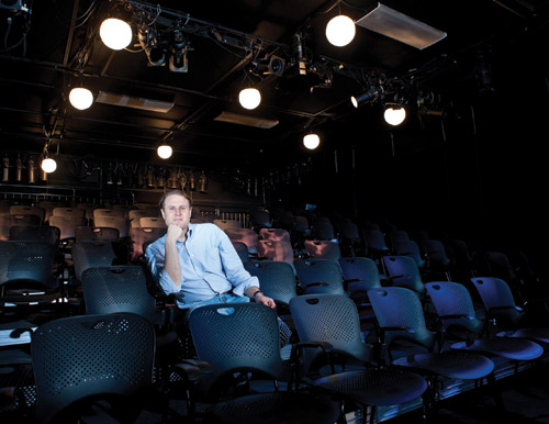 AJ Epstein in his new black box theater, West of Lenin