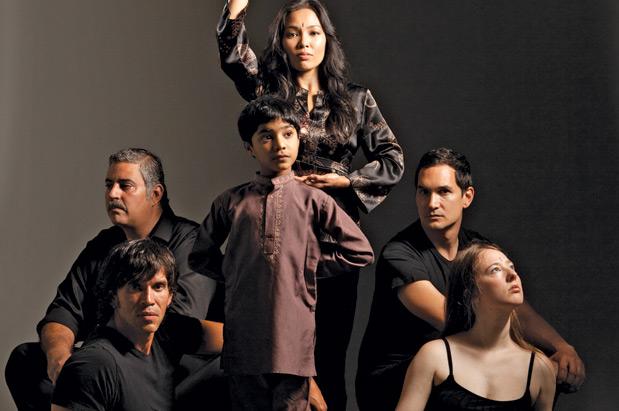 (Clockwise from top center) Performers Khanh Doan, Richard Sloniker, Belle Wolf, Brandon O'Neill, John Farrage and (center) Akhi Vadari