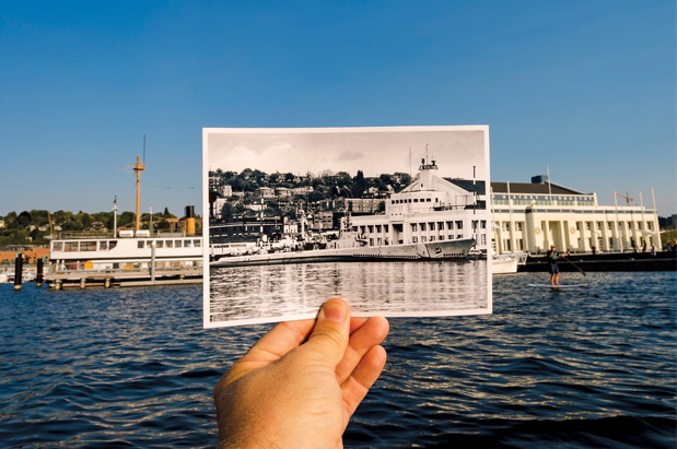 After WWII, the armory building was used as a training center for naval reserves. The submarine USS Puffer (inset) was docked here as a training vessel from 1946–1960. Today, MOHAI is settling into the historic space, which sits at the busy base of Lake Union