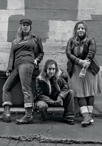 From left, Elizabeth Kenny, Gretta Harley and Sarah Rudinoff strike a grunge pose for their new musical