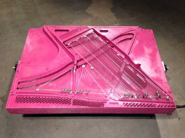 This kinetic sound machine used to be a piano. See/hear it at Winston Wächter Fine Art through this Saturday.